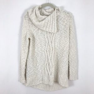 Anthro Moth Fold Over Cowl Neck Sweater Pullover